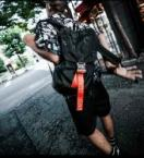 Industrial Neon tape Nylon BackPack [LEA363]*オレンジ*