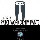 PATCHWORK DENIM PANTS [BLACK]