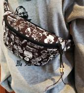 Original silk print west bag   *ブラック*
