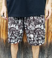 Original silk print easy shorts   *ブラック*