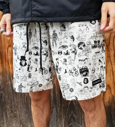 Original silk print easy shorts   *ホワイト*