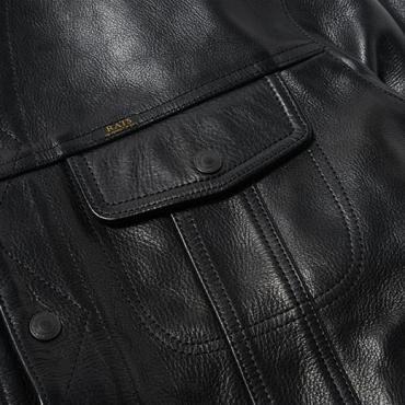 STAND COLLAR LEATHER JACKET *ブラック*