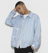 Color Stripe Shirts [ LES160 ] *サックスブルー*