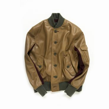 ST-1 LEATHER JACKET *カーキベージュ*