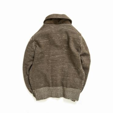 COMPOUNDED SHAWL COLLAR  KNIT CARDIGAN *ブラウン*