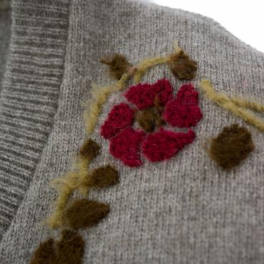 FLORAL DECORATION MOHAIR KNIT *グレーベージュ*