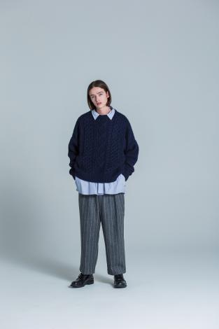 WIDE STRIPE PANTS *グレー*