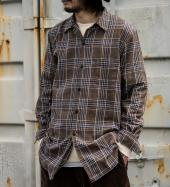 EMBROIDERY CHECK LONG SHIRTS *ブラウン*