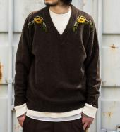 FLORAL DECORATION MOHAIR KNIT *ダークブラウン*