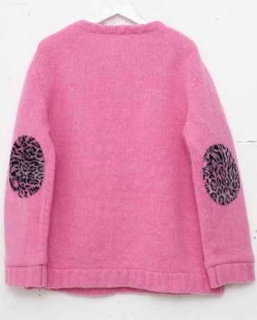 MOHAIR KNIT *ピンク×ピンク系ヒョウ柄*