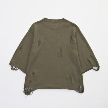 H/S DAMEGE KNIT *オリーブ*