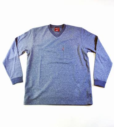 V-NECK POCKET L/S TEE **ブルー*