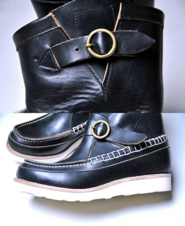 U.S. OIL LEATHER HAND MOCCASIN BOOTS *ブラック*
