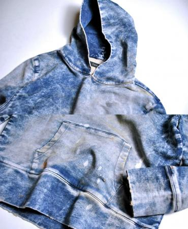 KNIT DENIM DAMAGE PARKA
