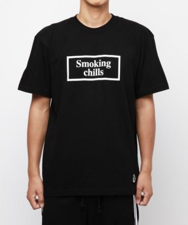 """Smoking chills"" T-SHIRTS [FRC145] *BK*"