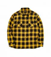 PRINT FLANNEL CHECK SHIRT *イエロー*
