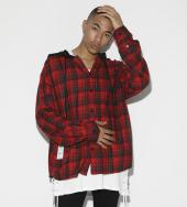 Dooking hood Over Sized Check Shirt[LES143] *レッド*