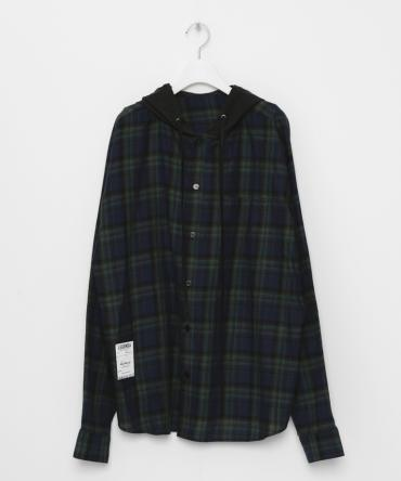 Dooking hood Over Sized Check Shirt[LES143] *グリーン*