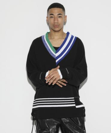 CRAYZY Pattern V-Neck Knit [ LEK074 ] *ブラック*