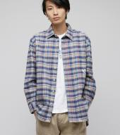 Big flannel shirts *ブルー*