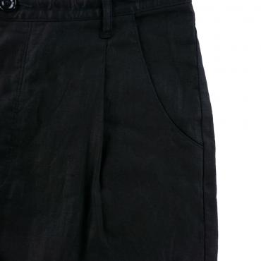 PURE BLACK LINEN BIG SILHOUETTE PANTS