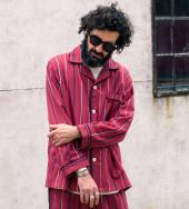 STRIPE PAJAMA SHIRTS *ワインレッド*