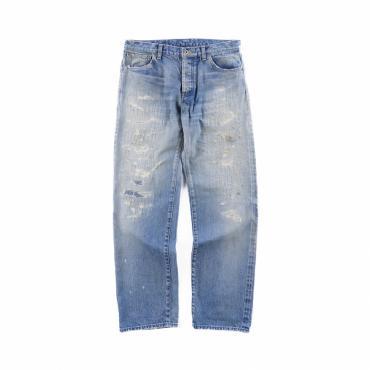 MODERATE DAMEGE&REPAIR DENIM PANTS