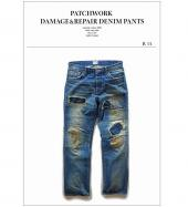 PATCHWORK DAMEAGE&REPAIR DENIM PANTS