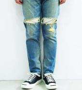 DAMEGE DENIM PANTS *ブルー*